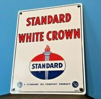 VINTAGE STANDARD WHITE CROWN GASOLINE PORCELAIN GAS & MOTOR OIL SERVICE SIGN