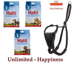 HALTI No Pull Harness For Dogs - Small Medium Large Stops Dogs Pulling In Black