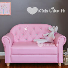 New GIRLS Wooden Bling CRYSTAL PINK  Double SEAT SOFA CHAIR Kids LOUNGE