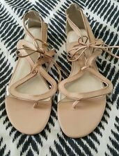 BNWOT WITCHERY Beige Nude Leather Strappy Flats Chantelle Sandals Size 41 $139