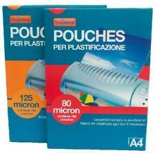 POUCHES A4 21x30 cm 80 MICRON FOGLI LUCIDI FILM PLASTIFICATRICE A CALDO 100 FG