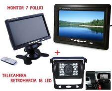 Monitor 7'' kit telecamera 18 led infrarossi retromarcia auto retrocamera camper