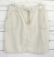 New Directions Linen Skirt Womens 8 Beige Solid Drawstring Above Knee Pockets