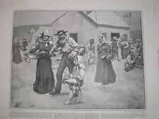 Getting food rations at a Boer refugee camp Maritzburg South Africa 1901 print