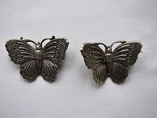 Vintage Deco Silver Plated Pair of Butterfly Brooches Pins