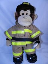 Build a Bear Monkey with Fireman Outfit Complete Hat Boots Fire hose Ex. Cond.