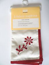 Martha Stewart Daisy Garland Set of 2 Fabric Napkins w/Embroidered Red Flowers