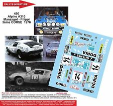 DÉCALS 1/43 réf 490 Renault Alpine 310 Manzagol Corse 1976
