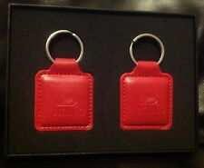 Pair of VIKING CRUISES Red Leather Key Rings In Gift Box