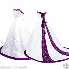New White and Purple Satin Embroidery Wedding Dress Bridal Gown Custom Size 14++