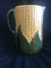 "Brush McCoy Cusick Majolica Corn and Shucks Pitcher, 6"" Height"