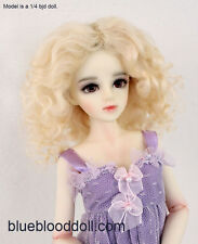 "1/4 or 1/3 bjd 7-8"" doll wig blonde curly real mohair dollfie minifee JD-039"