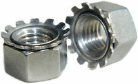 Stainless Steel Fine Thread Keps lock Nut with free spinning washer 10-32 Qty 50