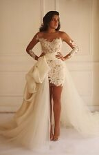 2017 Detachable White Ivory Short Wedding Dress Beach Lace Appliques Bridal Gown