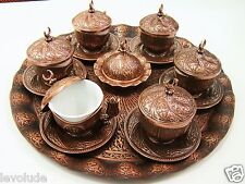 Handmade Copper & Porcelain Turkish- Ottoman Coffee Espresso  Set 27 Pcs Tiryaki