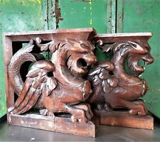 Pair dragon chimera sculpture corbel bracket Antique french oak salvaged carving