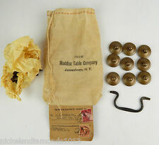 ANTIQUE MADDON TABLE COMPANY DRAWER PULLS / KNOBS W/ HARDWARE SACK & TAG