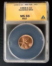 1968-S 1c CLASHED DIES Lincoln Cent ANACS MS 66 RED