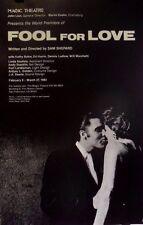 Sam Shephard 'Fool for Love' World Premiere   Magic Theater   Orig 1983 Poster