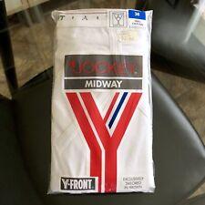 Vintage Jockey White Y Front Classic Midway 100% Cotton Briefs Underwear Size 36