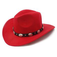 e494fca40c21 Wool Felt Kid Child Western Cowboy Hat Wide Brim Punk Leather Belt Jazz Cap