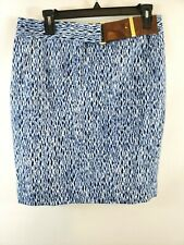 Michael Kors Womens Pencil Skirt Lined Faux Belt Size 6 Blue & White Print