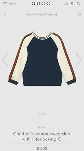 Current Season Gucci Boys Tape Sweater Jumper Sweat Age 12 RRP £205