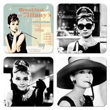 4 posavasos para vasos metal break casi at Tiffany 's, Audrey Hepburn, retro
