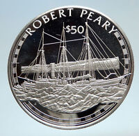 1988 COOK ISLANDS Explorer Robert Peary w SAILING SHIP Silver $50 Coin i75178