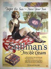 Rare Stillman Freckle Cream  Ad 1922 Art Deco Flapper Girl Mavis Reverse