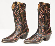 ARIAT~WOMEN'S BROWN DISTRESSED LEATHER SHALLEEN EMBROIDERY WESTERN BOOTS~7.5 B