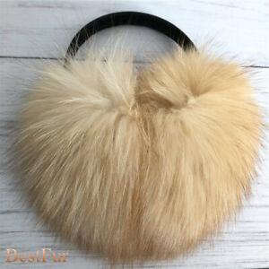 Winter Soft Extra Large Real Fox Fur Earmuffs Earlap Ear Muff Leather Bracket