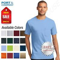 Port & Company Mens Tall Pocket T-Shirt 6.1 oz Cotton Heavy weight Tee M-PC61PT