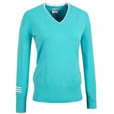 Adidas Damen Strick Pullover V-Pulli Sweat Shirt Golf Jumper Top türkis grün S/M