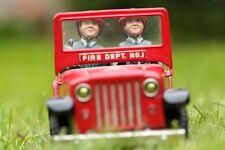 Ancien jouet jeep pompier téléphone tôle piles battery toy Nomura toy 1950 FD