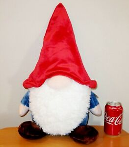 "LARGE 24"" PLUSH TINKLINK GNOMLINS Gnome by Aurora Blue w Red Hat Stuffed Plush"