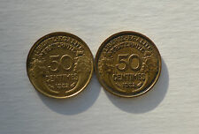 1932 50 CENTIMES FRANCE 2 COINS KM894.1