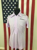 vtg 70s King Louie Pink Bowling Shirt women Large 42 triacetate wide collar a709