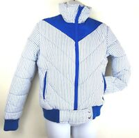 Topher Vintage Puffer Jacket 70s Quilted Size XS Ski Chevron Blue White Striped