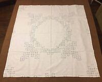 Vintage 31 x 29 Handangar Cross Stitch Tablecloth White Blue Hand Made
