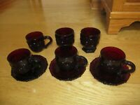 Avon Cape Cod Collection Ruby Red Glass Lot Cups Mugs Saucers Vintage (F114)