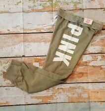 Victorias Secret PINK Sweatpants Gym Pant Logo Band Sage Green NWT S Small