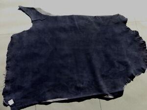 Lambskin sheepskin hide skin Navy Blue Suede glove soft Stretch leather