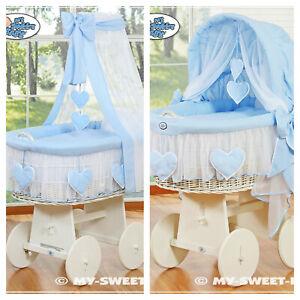 My Sweet Baby Complete Blue & White Wicker Crib Cot - Love Hearts Hood or Drape