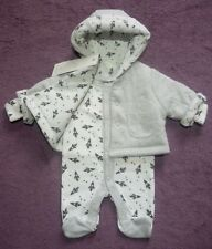 Early Baby Boys Reversible Hooded Coat Jacket/All In One Sleepsuit Outfit 5lb
