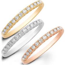 1.7ct Round Cut Stackable Bridal Wedding Petite Anniversary Band14k TriTone Gold
