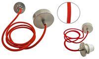 Schnurpendel Pendelfassung E27 Stoff rot Lampenaufhängung Fassung Hängelampe