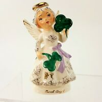 "Vintage March Angel 5"" Figurine Green Clover St Patrick's Day Irish NAPCO Japan"