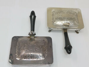 2x Vintage Silver Plated Small Warming Pans with Bakelite or Similar Handles
