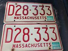 2 - 1973 - 1977 MASSACHUSETTS  LICENSE PLATE Red border